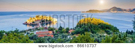 Fantastic view of the Sveti Stefan, small islet and resort in Montenegro. Dramatic morning scene. Balkans, Adriatic sea, Europe. Beauty world.