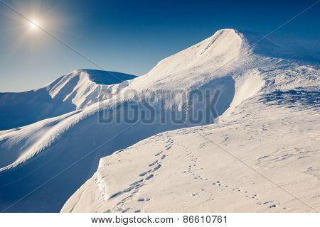 Mountain range glowing by sunlight. View from ski resort Dragobrat. Dramatic morning scene. Carpathian, Ukraine, Europe. Beauty world.