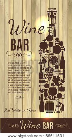 Wine menu on wood texture