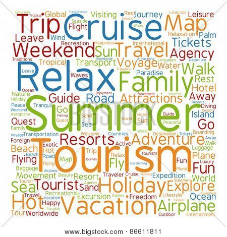Vector concept or conceptual abstract summer travel or tourism w