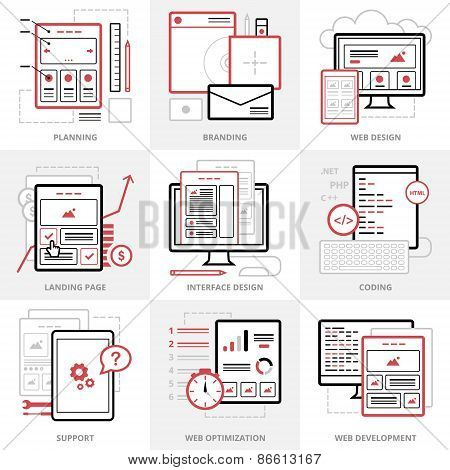 Flat vector business icons set. Corporate style. Outlined IT icons for web site.