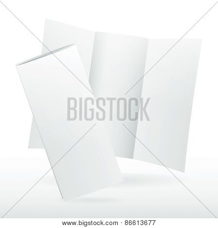 Blank White Vector Tri Fold Brochure Template.