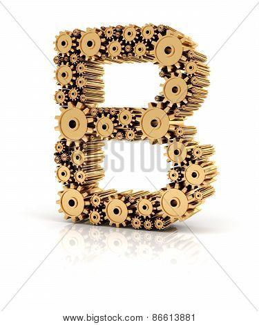 Alphabet B formed by gears