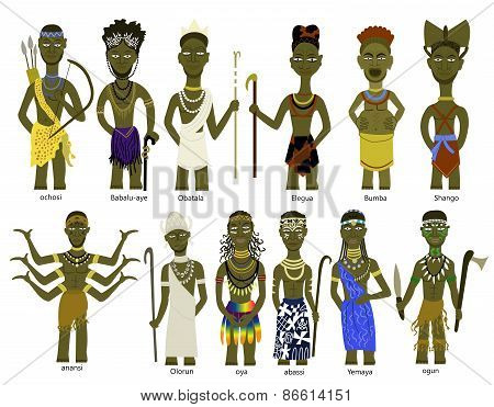 A set of African god illustrations