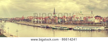 Retro Vintage Stylized Panoramic Picture Of Szczecin, Poland.