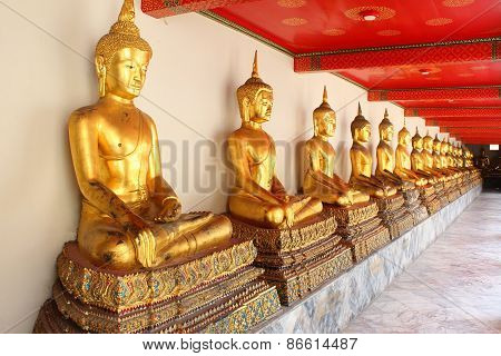 Meditation Buddha Statues in Buddhist Temple Wat Pho, Bangkok,