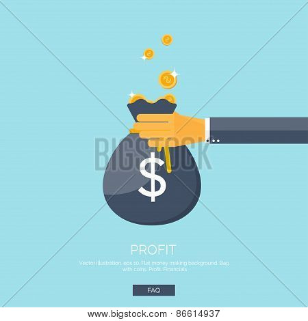 Vector illustration. Flat background with hand and money bag. Money making. Bank deposit.  Financial