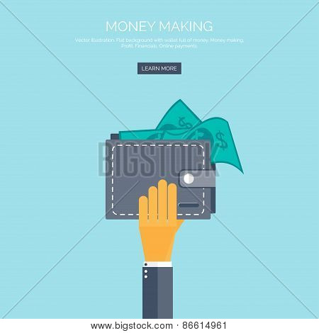 Vector illustration. Flat background with hand and wallet full of money. Online shopping. Pay per cl