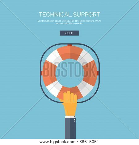 Vector illustration. Flat background with hand and lifebuoy.  Technical support concept. Online help