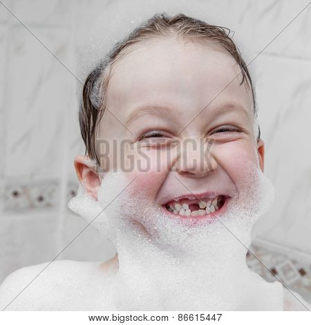 Cute Child In Soap Foam