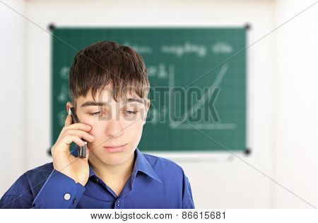 Sad Student With Cellphone