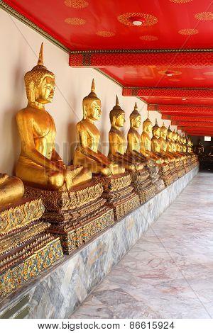 Meditation Buddha Statues in Buddhist Temple Wat Pho, Bangkok