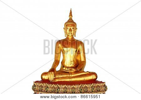 Single Meditation Buddha Statue Isolated On White Background