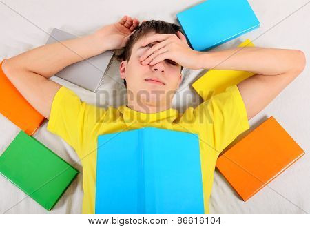 Tired Student With A Books