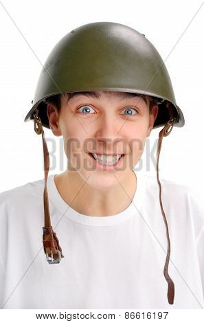 Teenager In Military Helmet