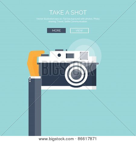 Vector illustration. Flat background with hand and photo camera. Photoshooting. Selfie.