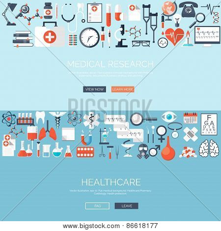 Vector illustration. Flat medical background. Medicine. Healthcare and medical research. First aid h