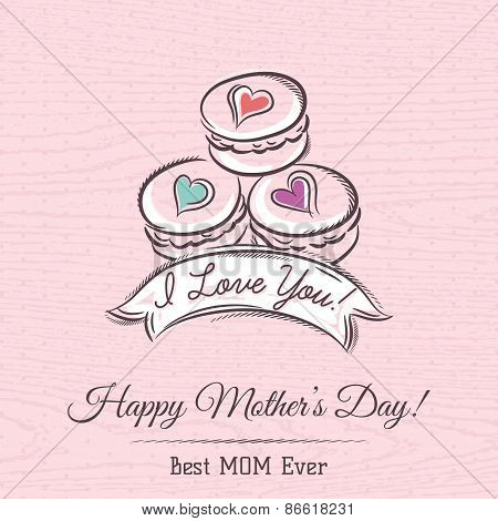 Pink Mothers Day Card With  Macaroni, Ribbon And  Wishes Text,  Vector