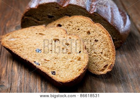 Pieces Of Rye Bread  On A Rural Table