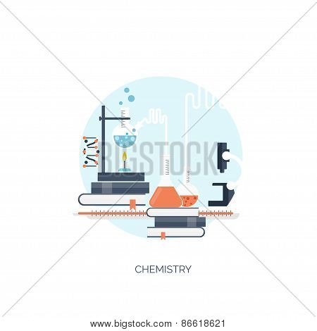 Vector illustration. Flat medical and chemical background. Medical research, experiment.