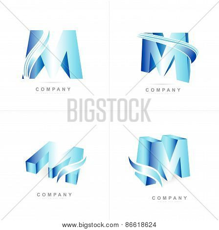 Alphabet Letter M Icon Set