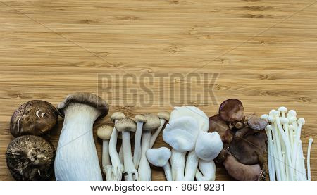 Oriental Mixed Mushroom On Wood Background
