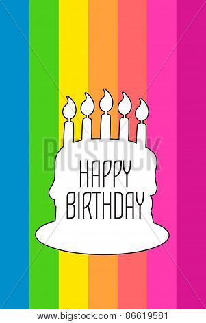 Vector Happy birthday card with white cake silhouette on rainbow striped background