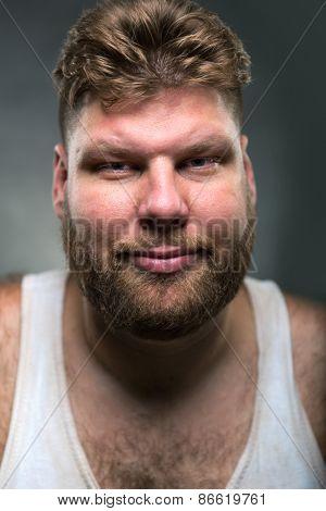 Hipster man with beard closeup