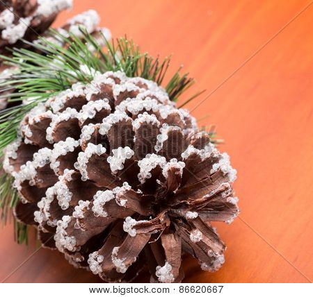 Macro of decorative fir cone on the table
