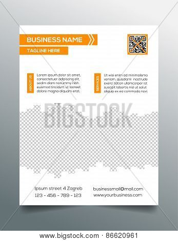 Business flyer template - sleek modern minimalistic design in orange