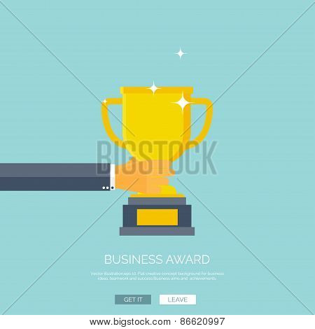 Vector illustration with flat trophy and hand. First place and business aims concept background. Tea