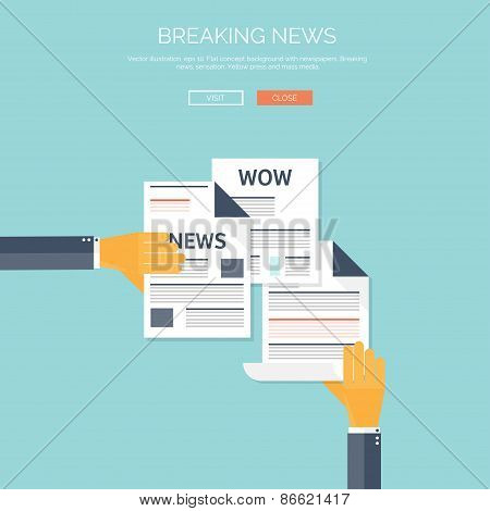 Vector illustration with flat newspapers. News and mass media concept background. Global communacati