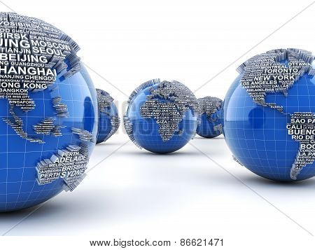 Globes with names of major cities in the world