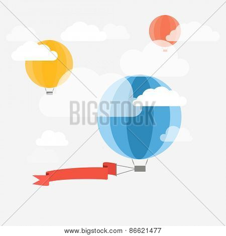 Flying ballon with the banner. Template for a text