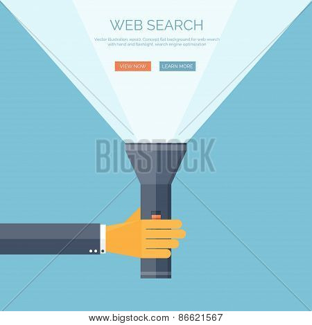 Vector illustration. Flat flashlight and hand. Web search concept bacground.