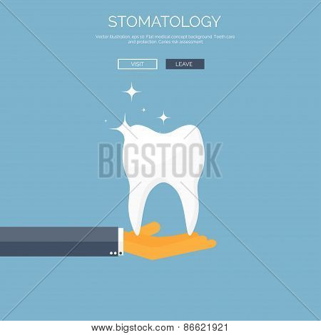 Vector illustration with hand and tooth. Flat health care and medical research background. Healthcar