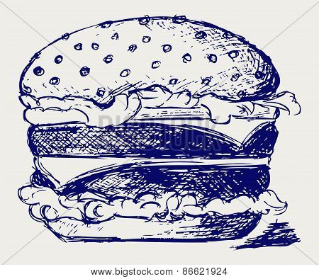 Big and tasty hamburger