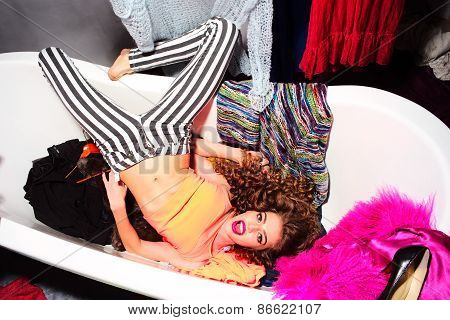 Fashionable Woman In Bathtub