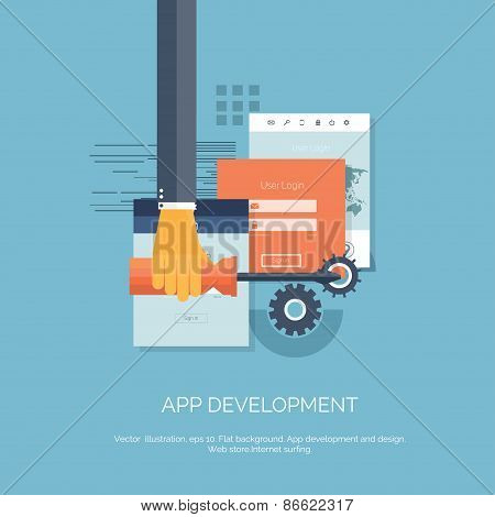 Vector illustration. App development. Flat computing background. Programming and coding. Web develop