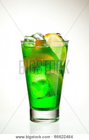 Green Cocktail with Midori, Vodka, Lemon and Ice