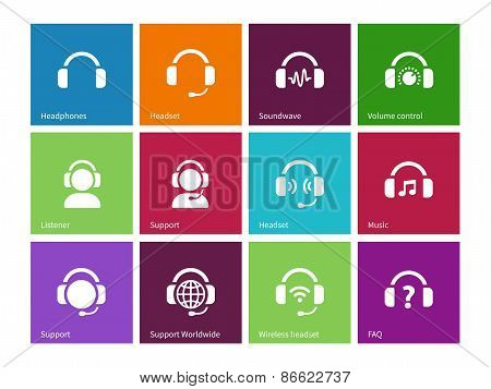 Headphones icons on color background.