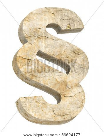 Paragraph sign from sandstone alphabet set isolated over white. Computer generated 3D photo rendering.
