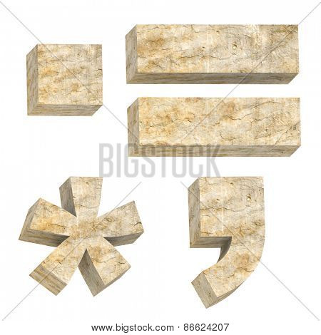 Signs from sandstone alphabet set isolated over white. Computer generated 3D photo rendering.