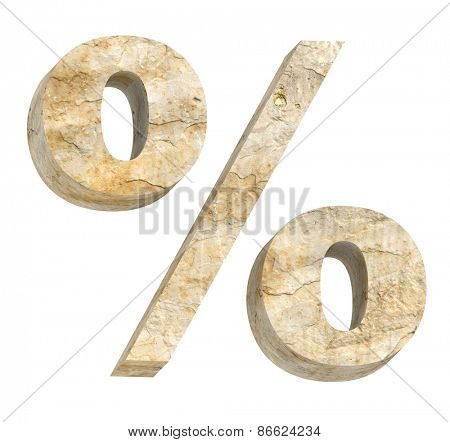 Percent sign from sandstone alphabet set isolated over white. Computer generated 3D photo rendering.