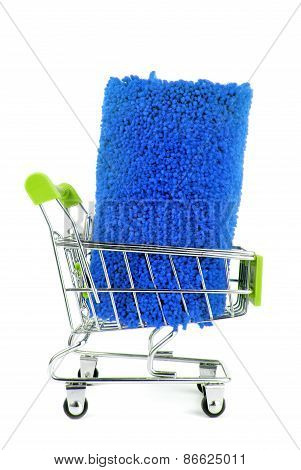 shopping trolley with carpet isoalted