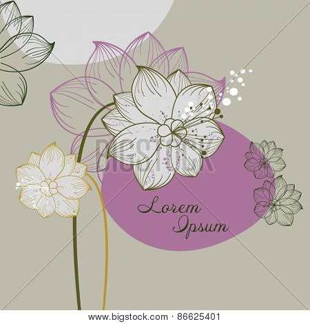 vintage floral illustration of blooming flowers