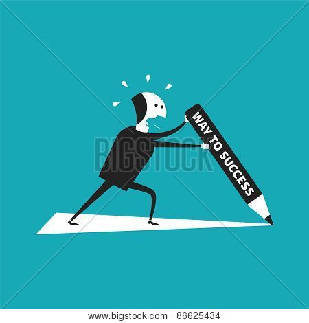 Independent Way To Success Vector Concept In Flat Cartoon Style