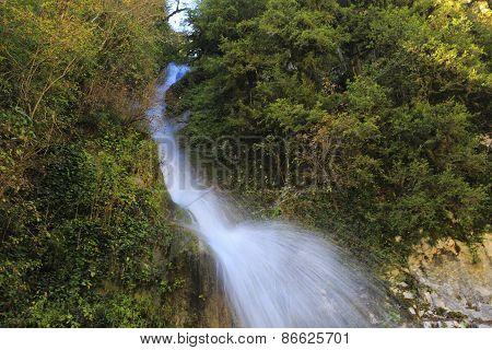 Waterfall in Caucasus mountains, Abkhazia, Georgia