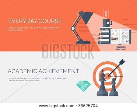 Vector illustration. Flat study backgrounds set. Education and online courses, web tutorials, e-lear