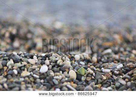 Black sea pebble coast, beach, Abkhazia, Georgia